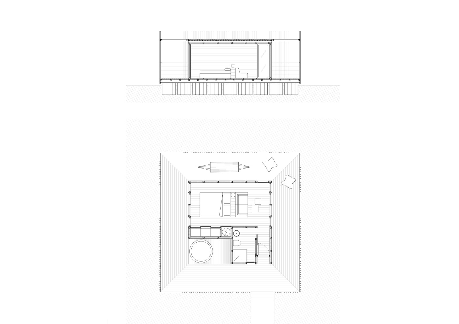 Plans for one of the suites.