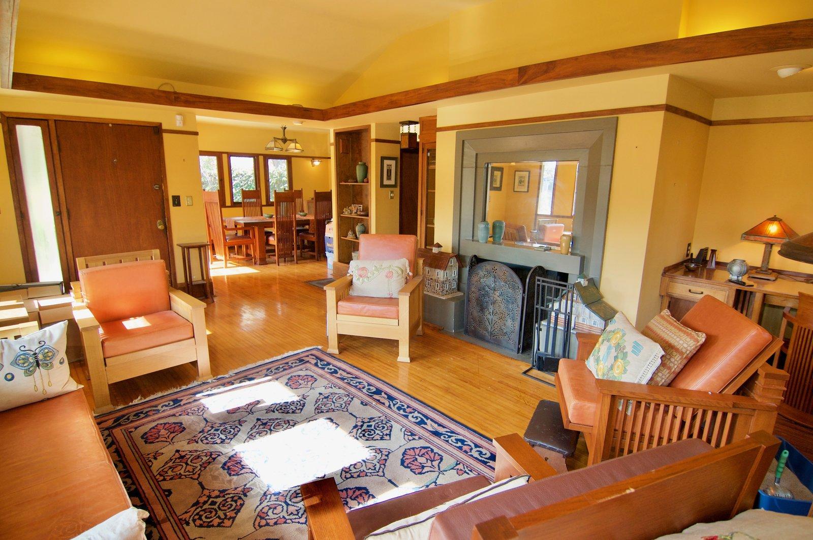 The narrow plank hardwood floors are all original.