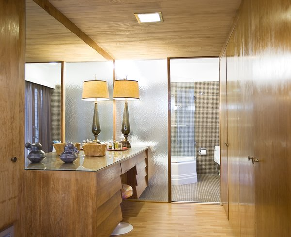 The home features original built-in pieces that enhance the midcentury vibe.