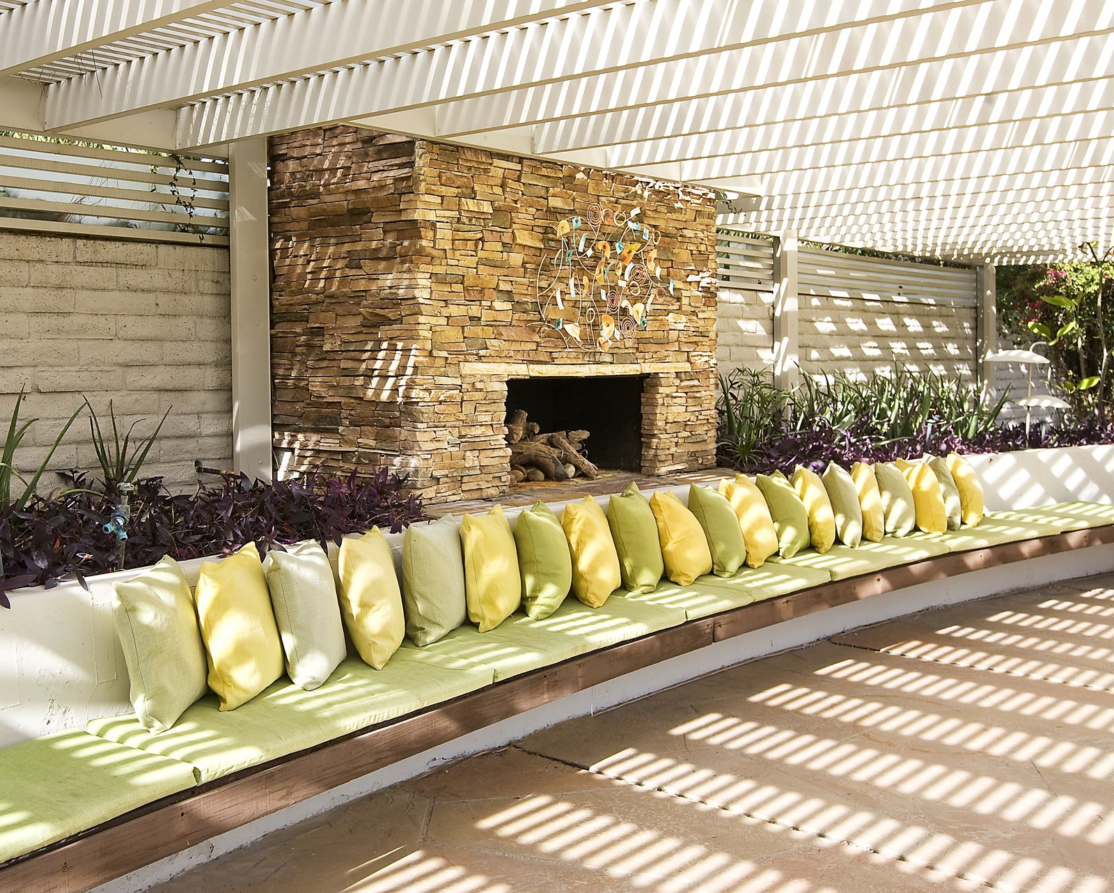 The stacked stone fireplace is perfect for entertaining on cool desert nights.