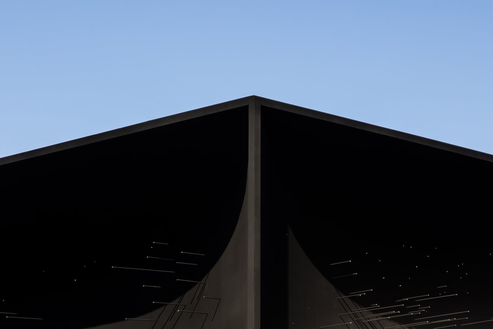 The building also references the traditional temple architecture of South Korea.