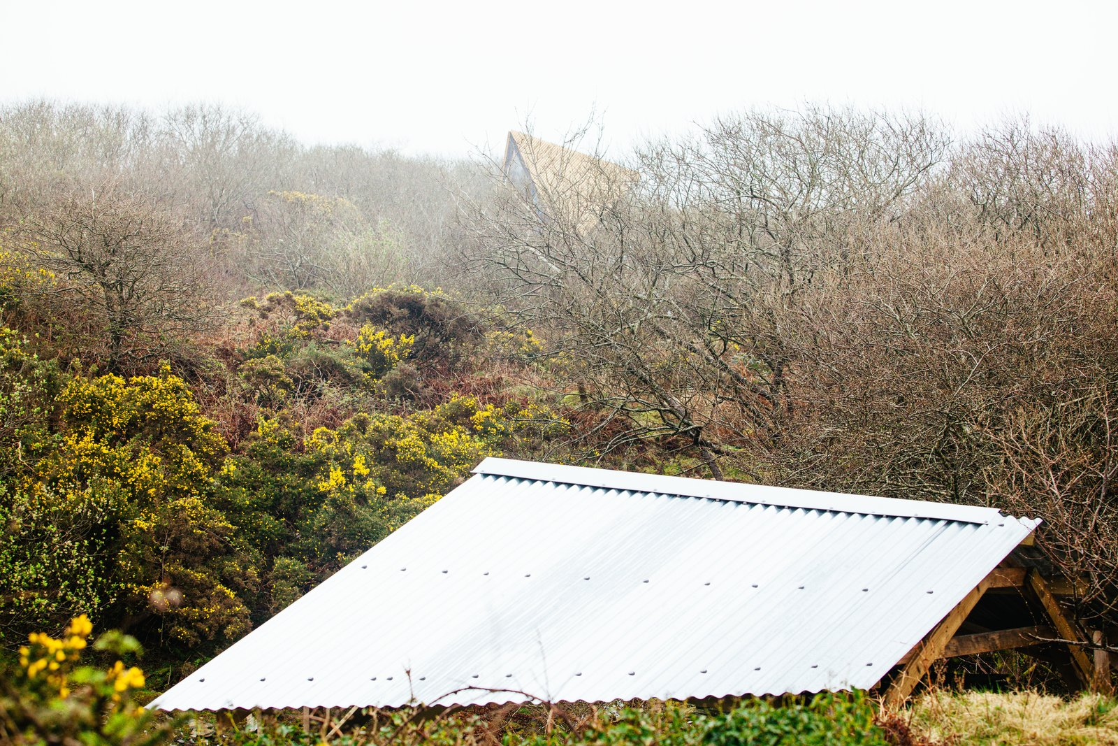 A view of the Kudhva rooflines against the Cornish countryside.