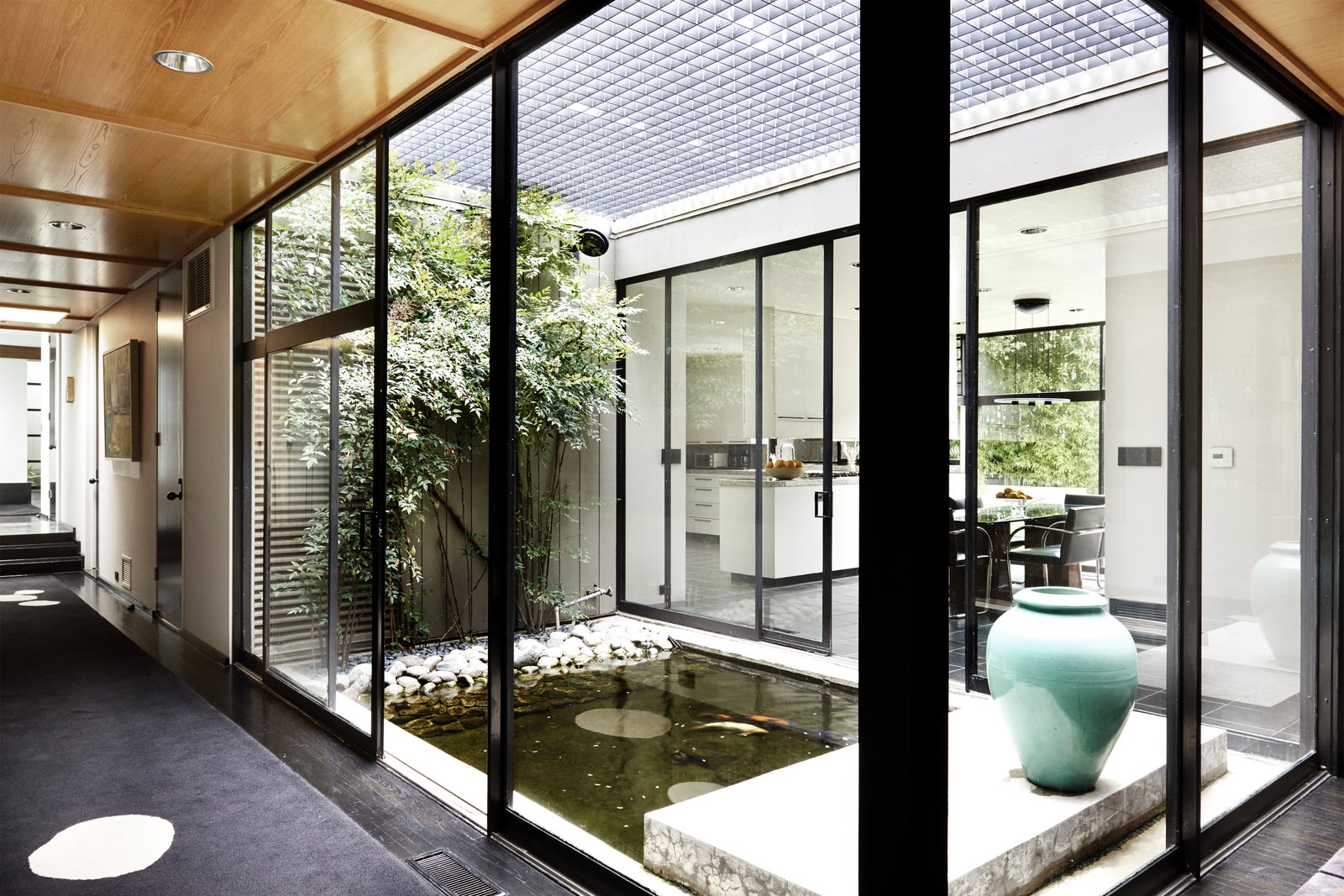 Interior courtyard with a pond.
