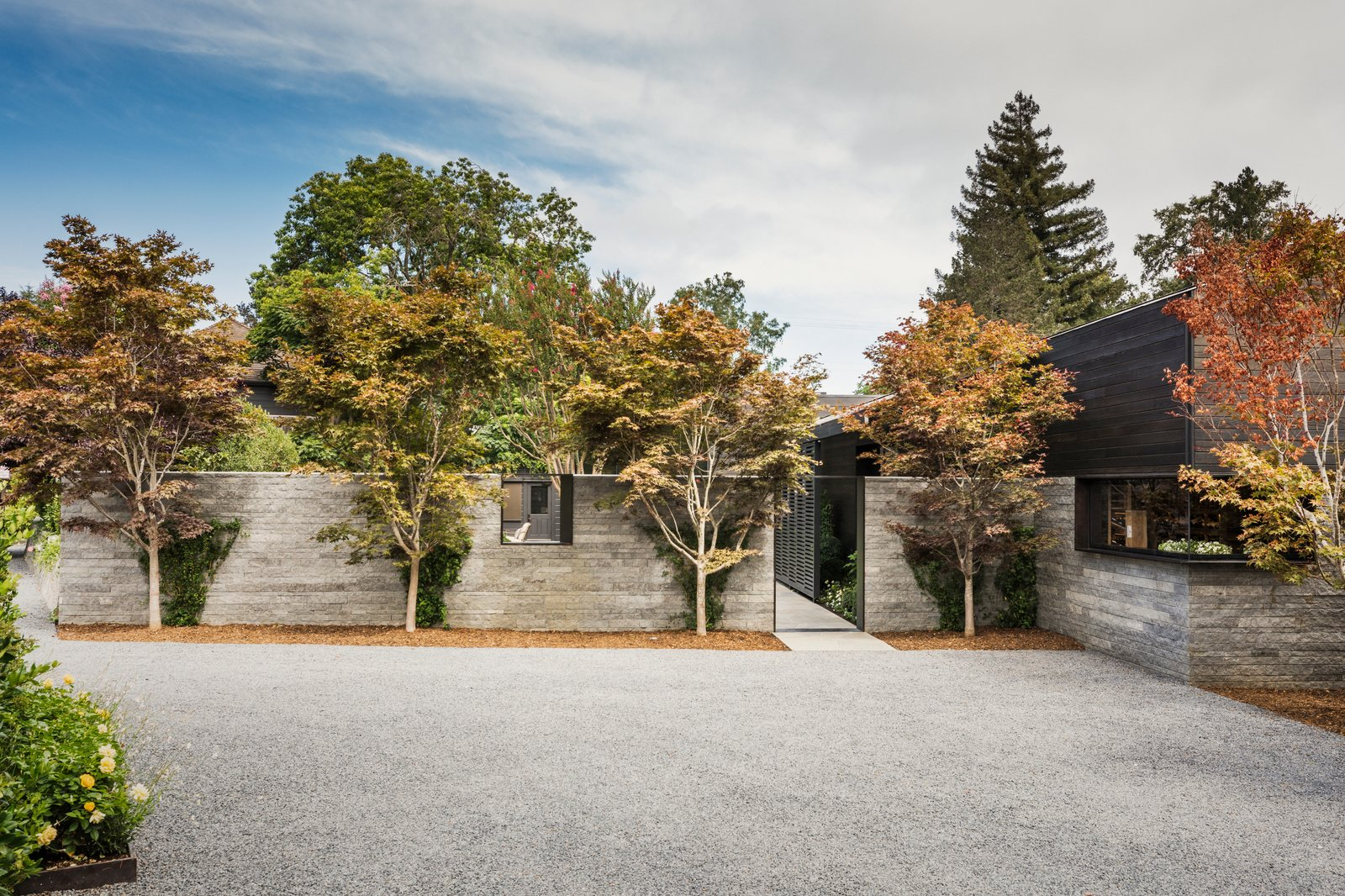Tagged: Exterior, Wood Siding Material, Glass Siding Material, Flat RoofLine, and Stone Siding Material.  Best Photos from A Look Inside The French Laundry's Stunning $10M Renovation