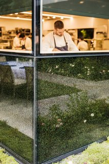 A Look Inside The French Laundry's Stunning $10M Renovation - Photo 6 of 11 - When viewed up close, the frit reveals a dense composition of layered curves, evoking the motions of the chefs' hands at work.