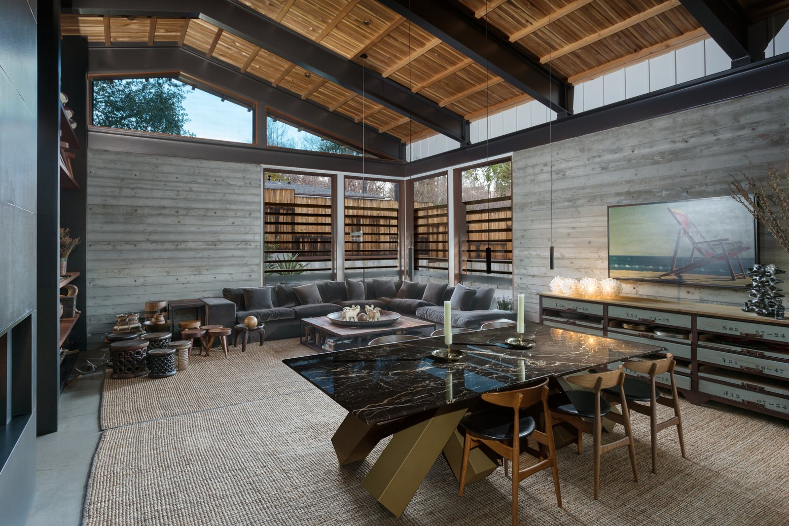 The tongue-and-groove ceiling is an authentic midcentury touch, while clerestory windows help keep the living area bright.