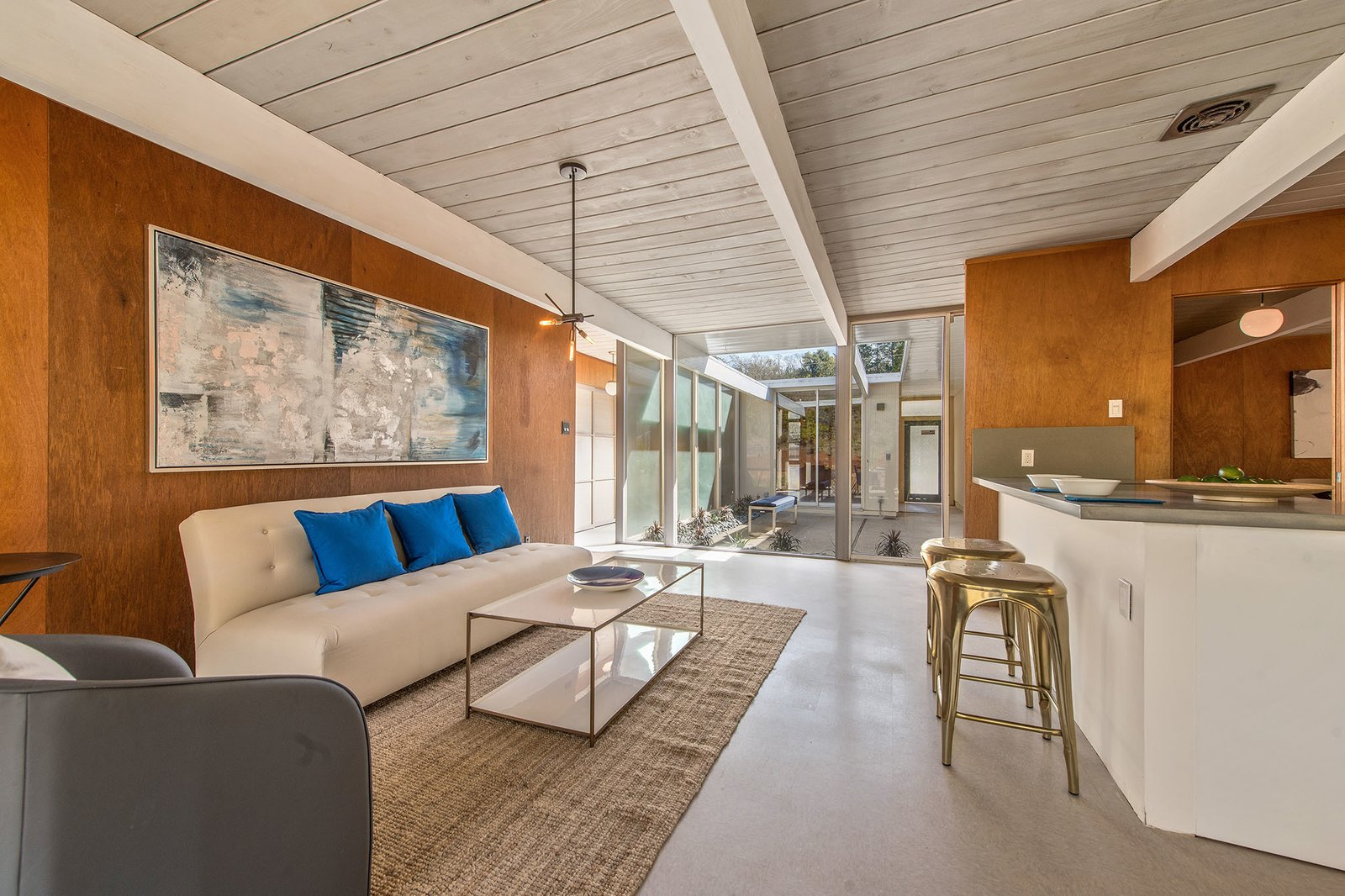 The walls are original Philippine mahogany and offer authentic midcentury charm.