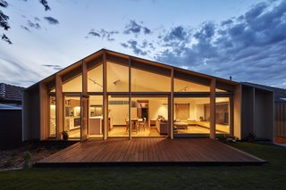 A Contemporary Extension Gives This Australian Home a New Face - Photo 11 of 11 - A view of the extension at night.