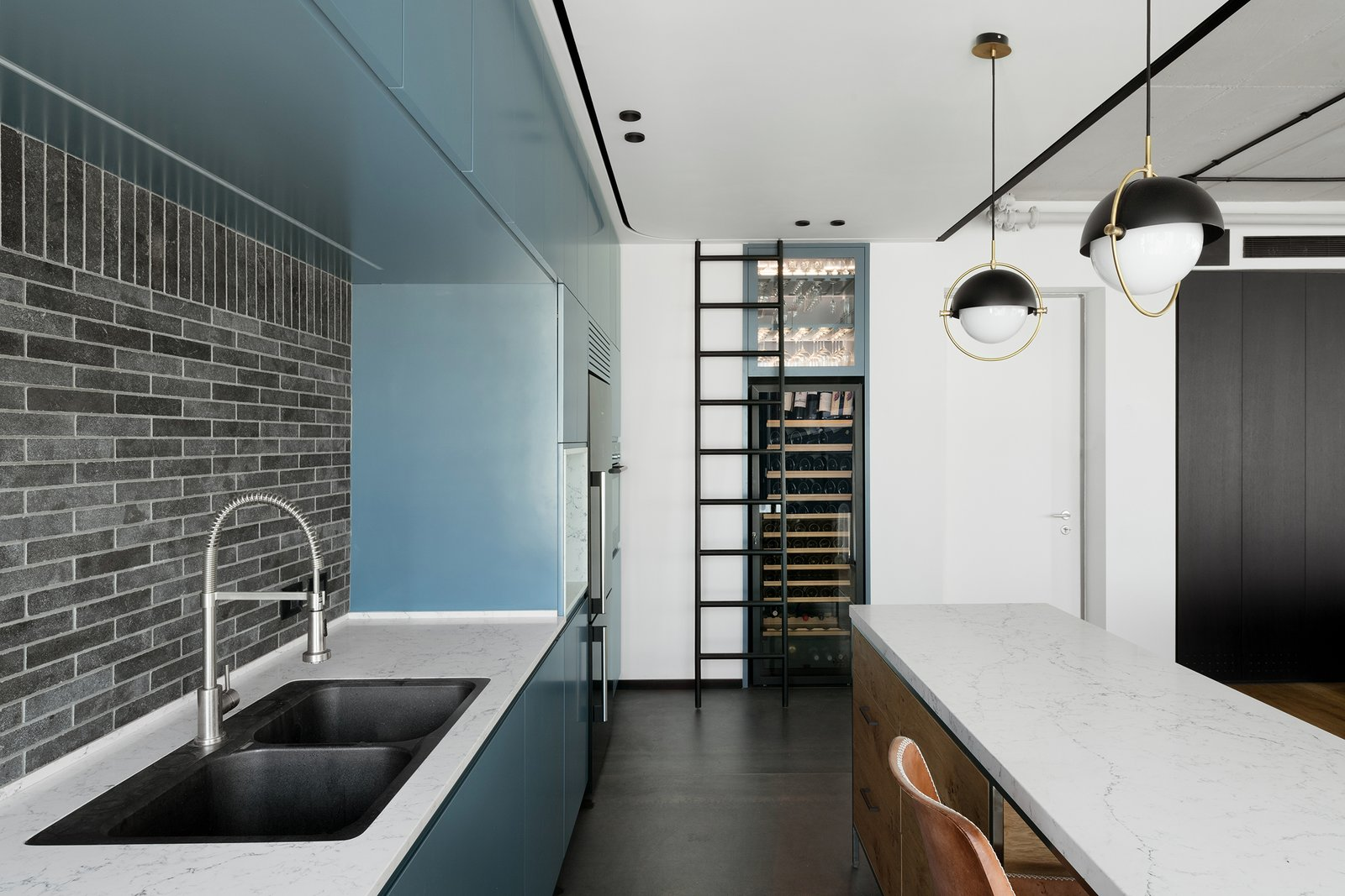 The black and white color scheme uses a cool share of teal as an accent.