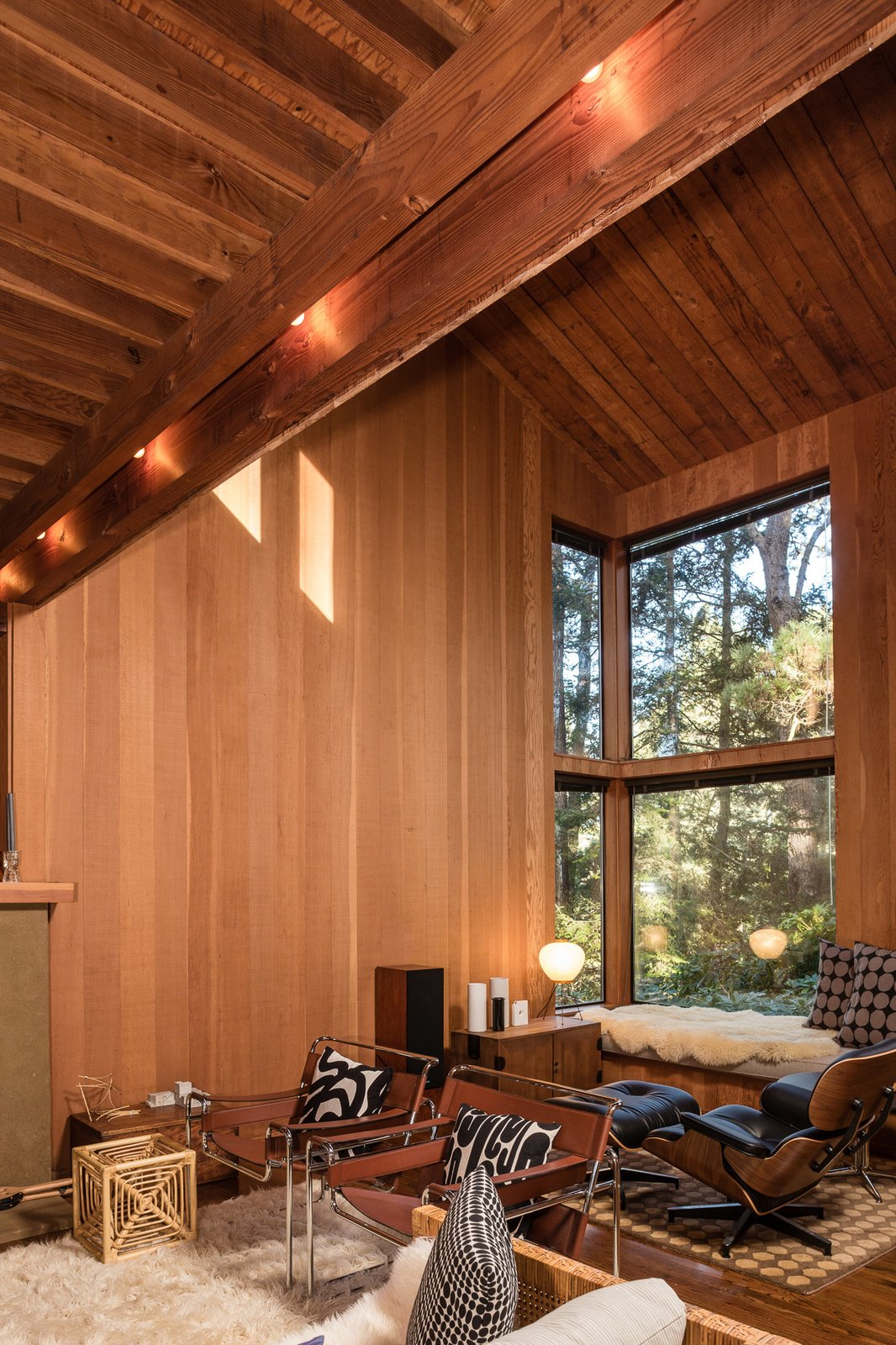 The high ceilings of the living area in the