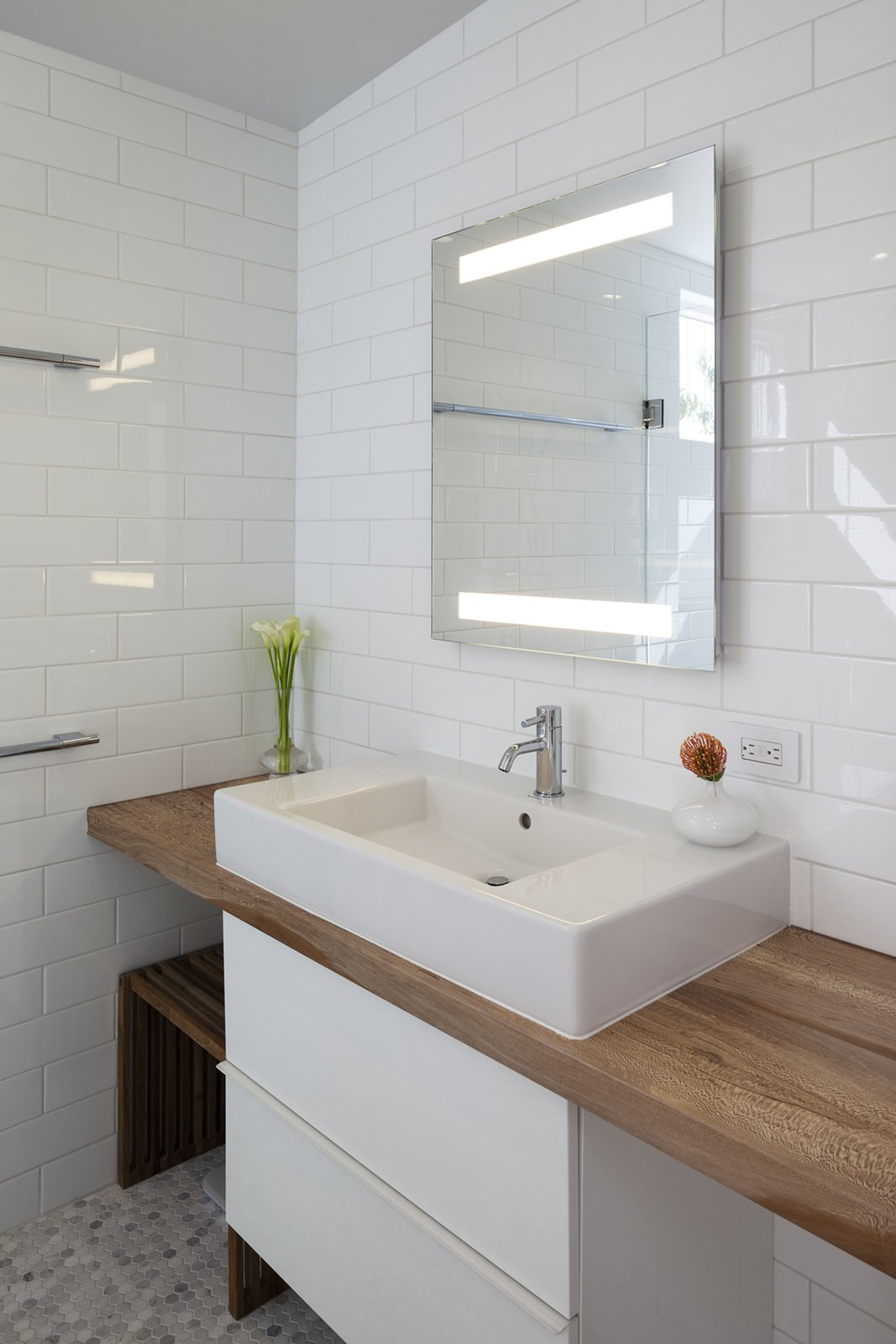 Tagged: Bath Room, Wood Counter, Accent Lighting, Vessel Sink, Ceramic Tile Floor, Subway Tile Wall, and Ceramic Tile Wall.  Shotwell Residence by Todd Davis Architecture