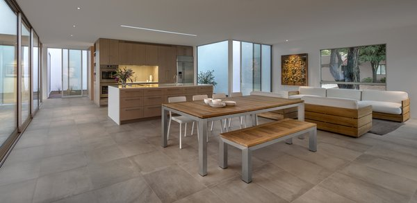 Huge panels of glass give the clients the ability to see into any number of the home's courtyards at once.