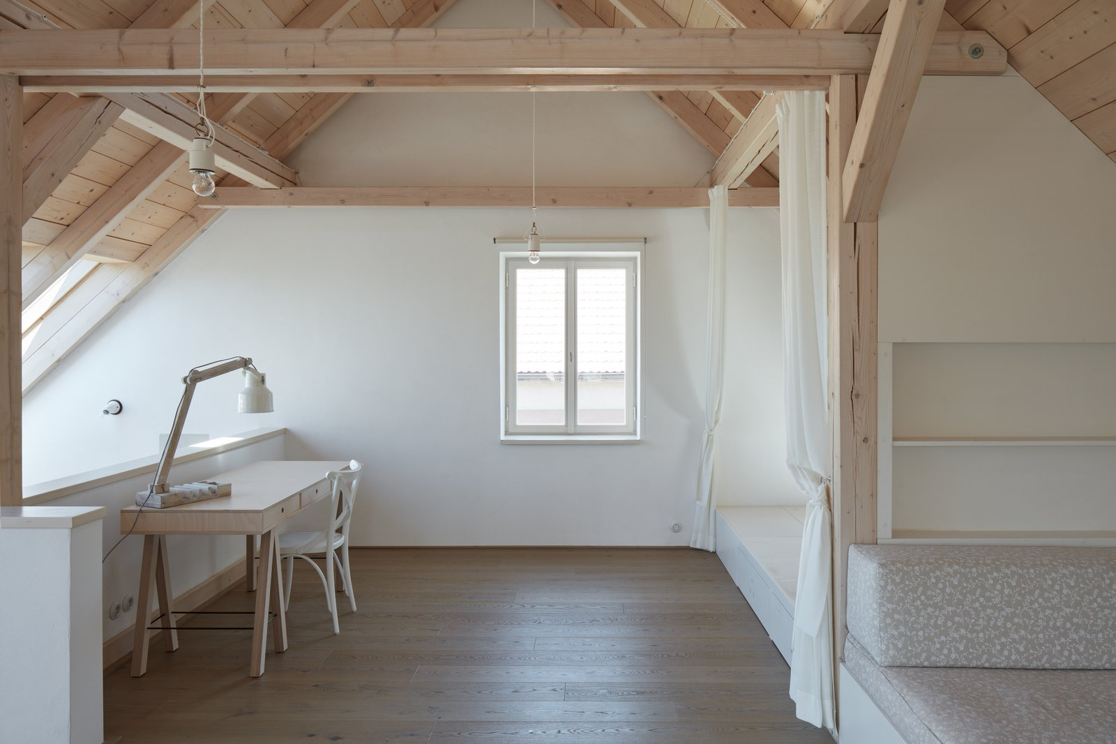 Tagged: Office, Lamps, Desk, Light Hardwood Floor, and Chair. House by the Forrest by BoysPlayNice Photography & Concept