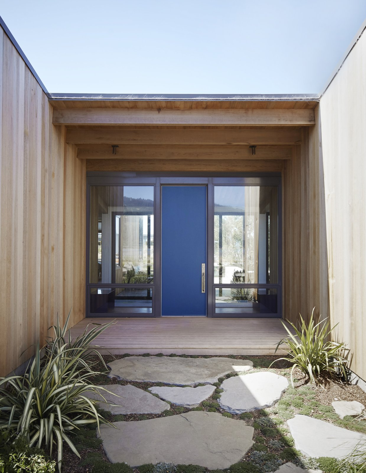 #TurnbullGriffinHaesloop #outdoor #exterior #entry #window   Stinson Beach Lagoon Residence by Turnbull Griffin Haesloop Architects