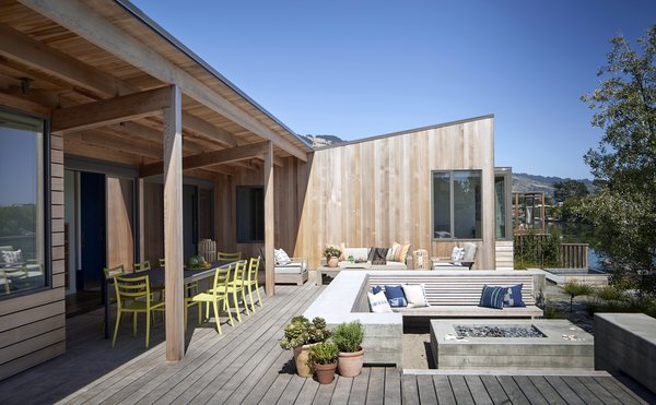Modern home with outdoor, decking patio, porch, deck, back yard, large patio, porch, deck, and wood patio, porch, deck. #TurnbullGriffinHaesloop #outdoor #patio #firepit  Photo 11 of Stinson Beach Lagoon Residence