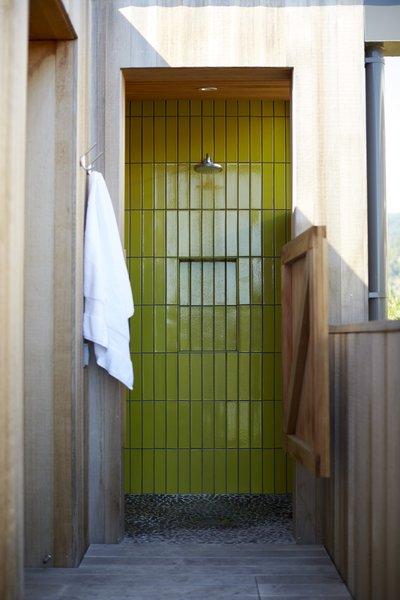 #TurnbullGriffinHaesloop #outdoor #outdoorshower #tile Photo 14 of Stinson Beach Lagoon Residence modern home