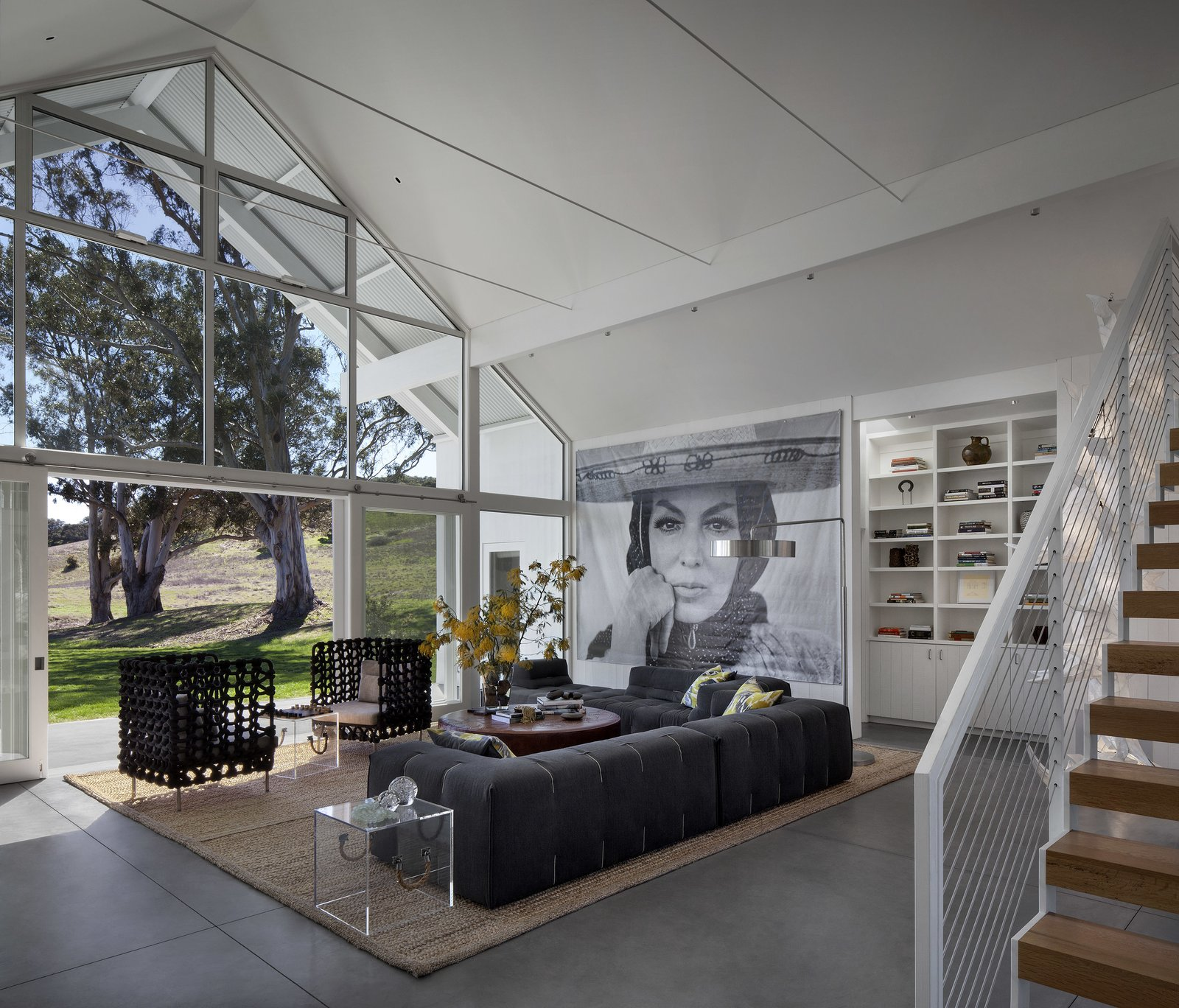 #TurnbullGriffinHaesloop #interior #livingroom #window Tagged: Living Room, Sofa, Concrete Floor, and Chair. Hupomone Ranch by Turnbull Griffin Haesloop Architects