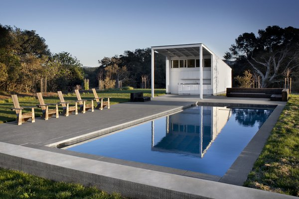 #TurnbullGriffinHaesloop #exterior #poolhouse #pool #kitchenette #landscape  Photo 11 of Hupomone Ranch modern home