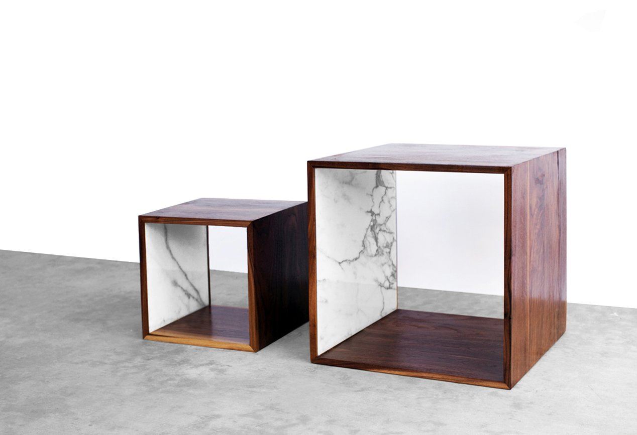 Walnut & Marble Cubes by 2131