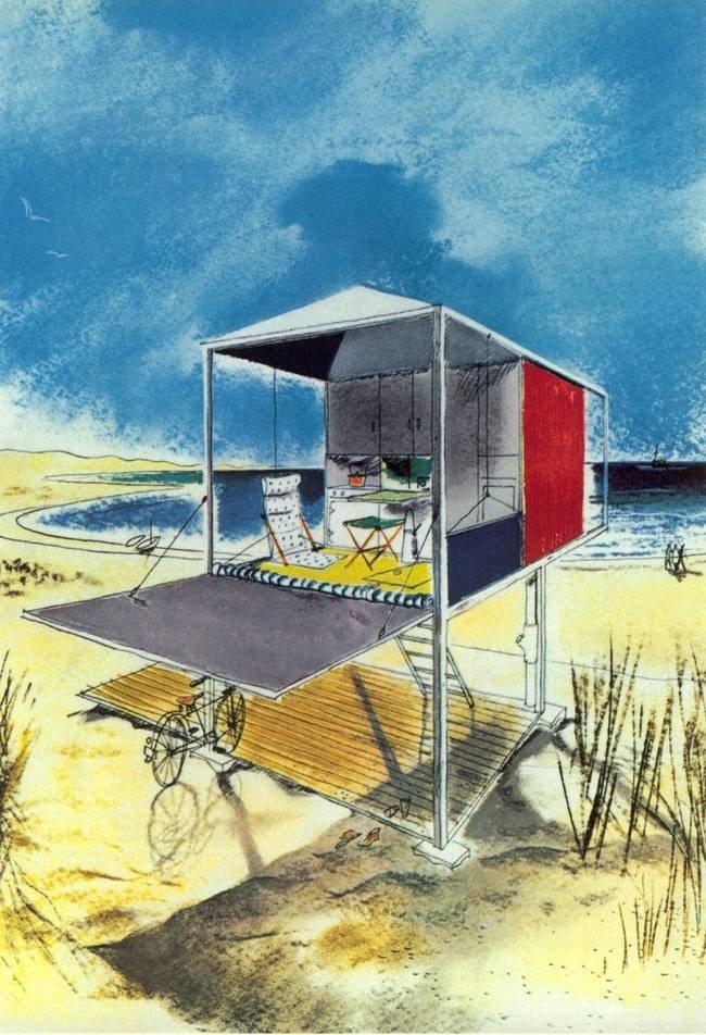 Andrew Geller sketch  Surf Shacks by Chris Deam