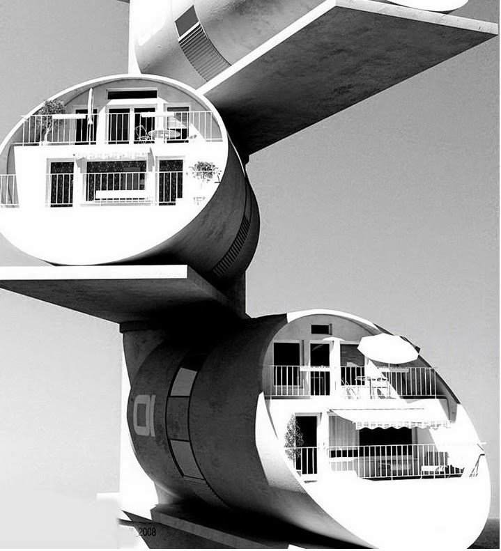 Guy Dessauges, cylinder houses  The Future was... by Chris Deam