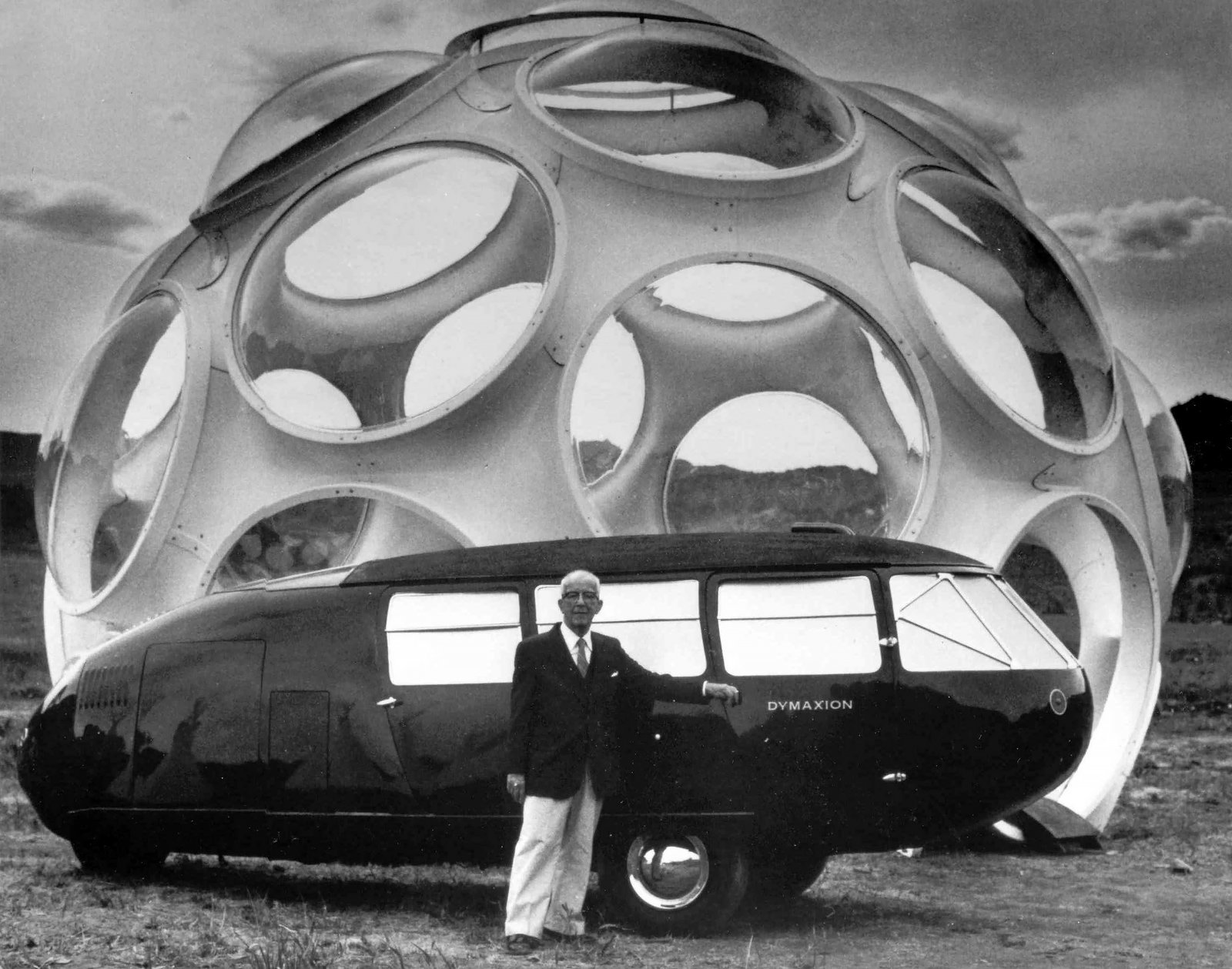 Buckminster Fuller with his Dymaxion Can and Fly Eye Dome