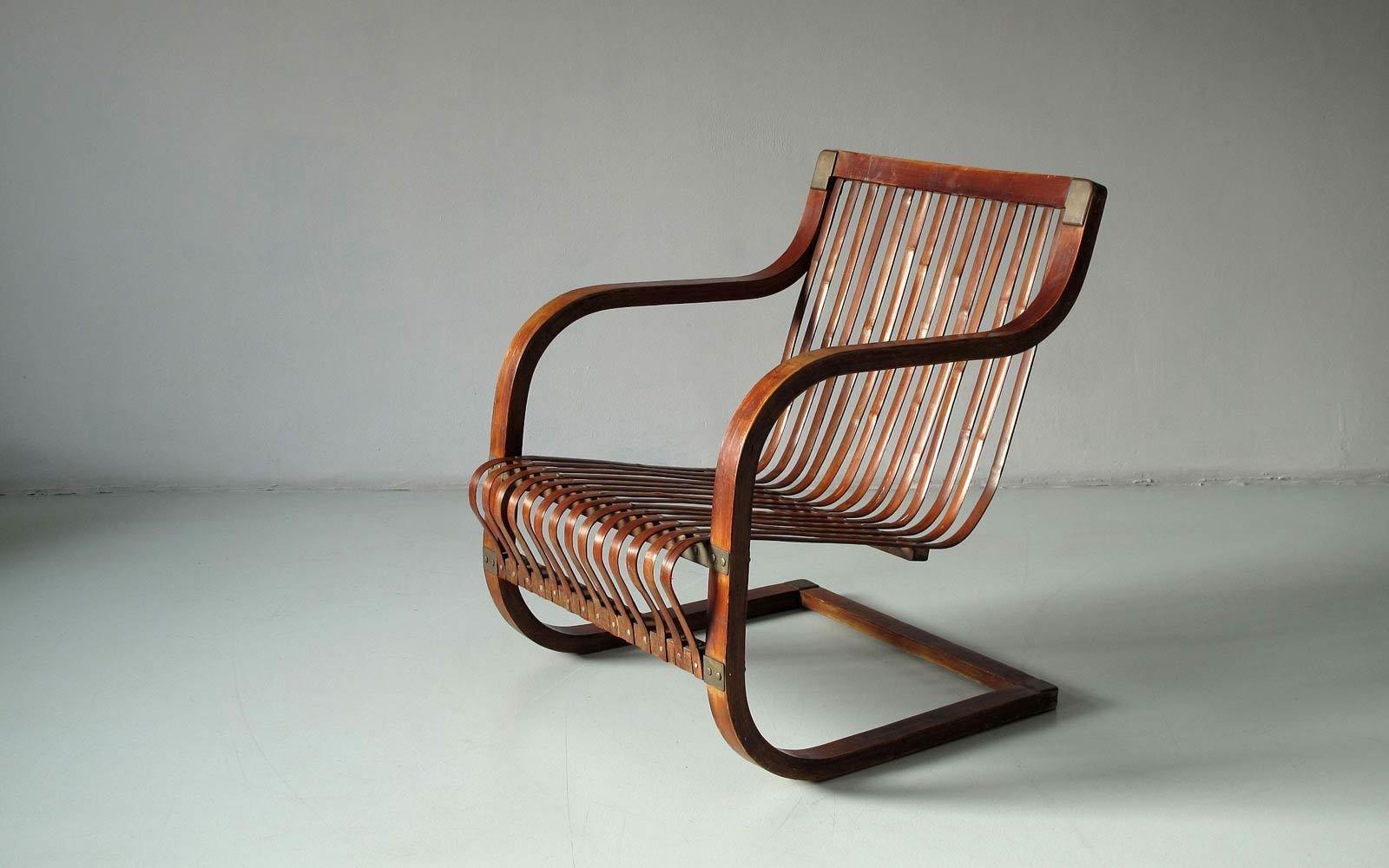 Cantilever chair for Takashimaya Department Store, Tokyo 1940s. Bamboo, oak, bronze.