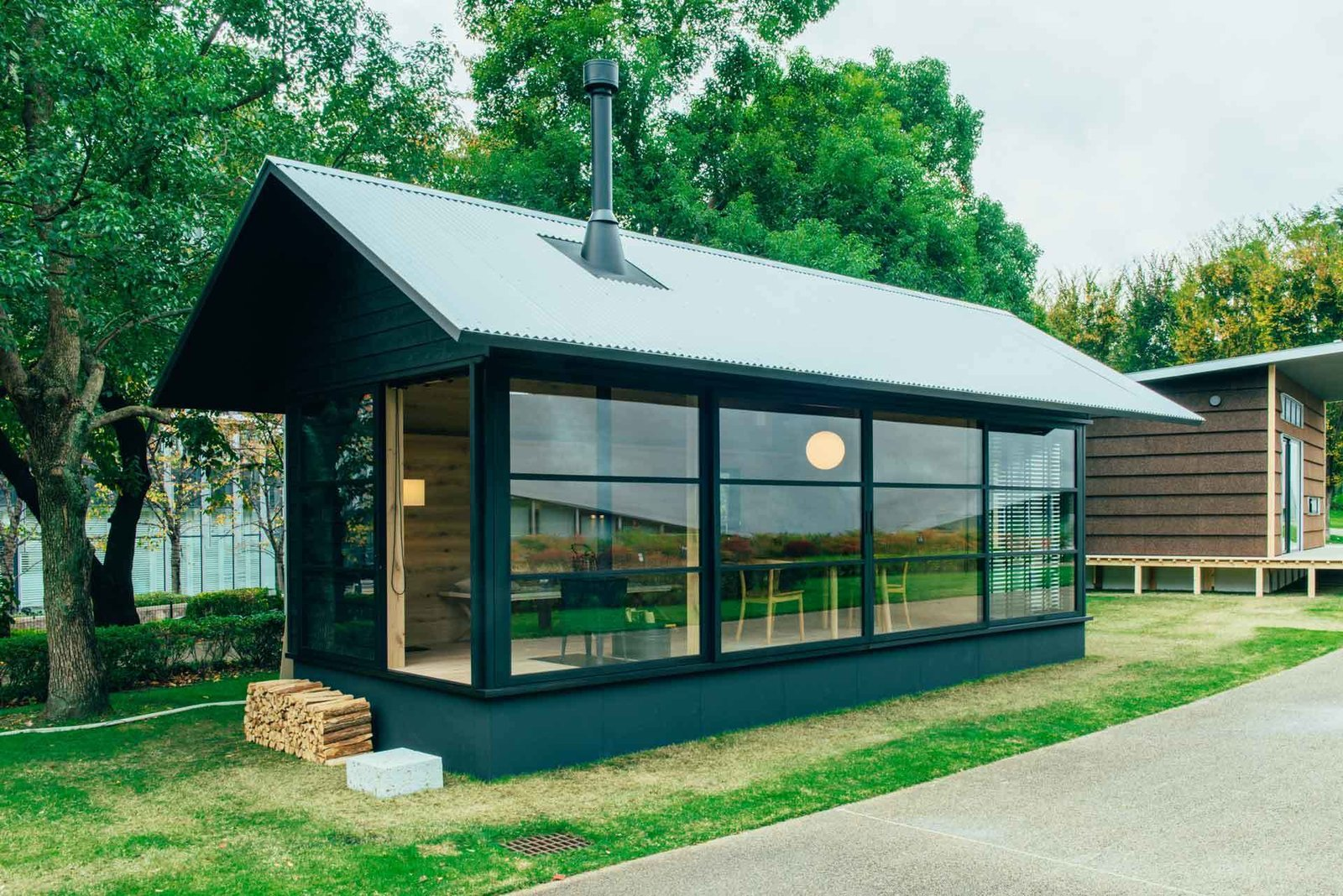 Muji's wooden pre-fab hut, made primarily of timber.