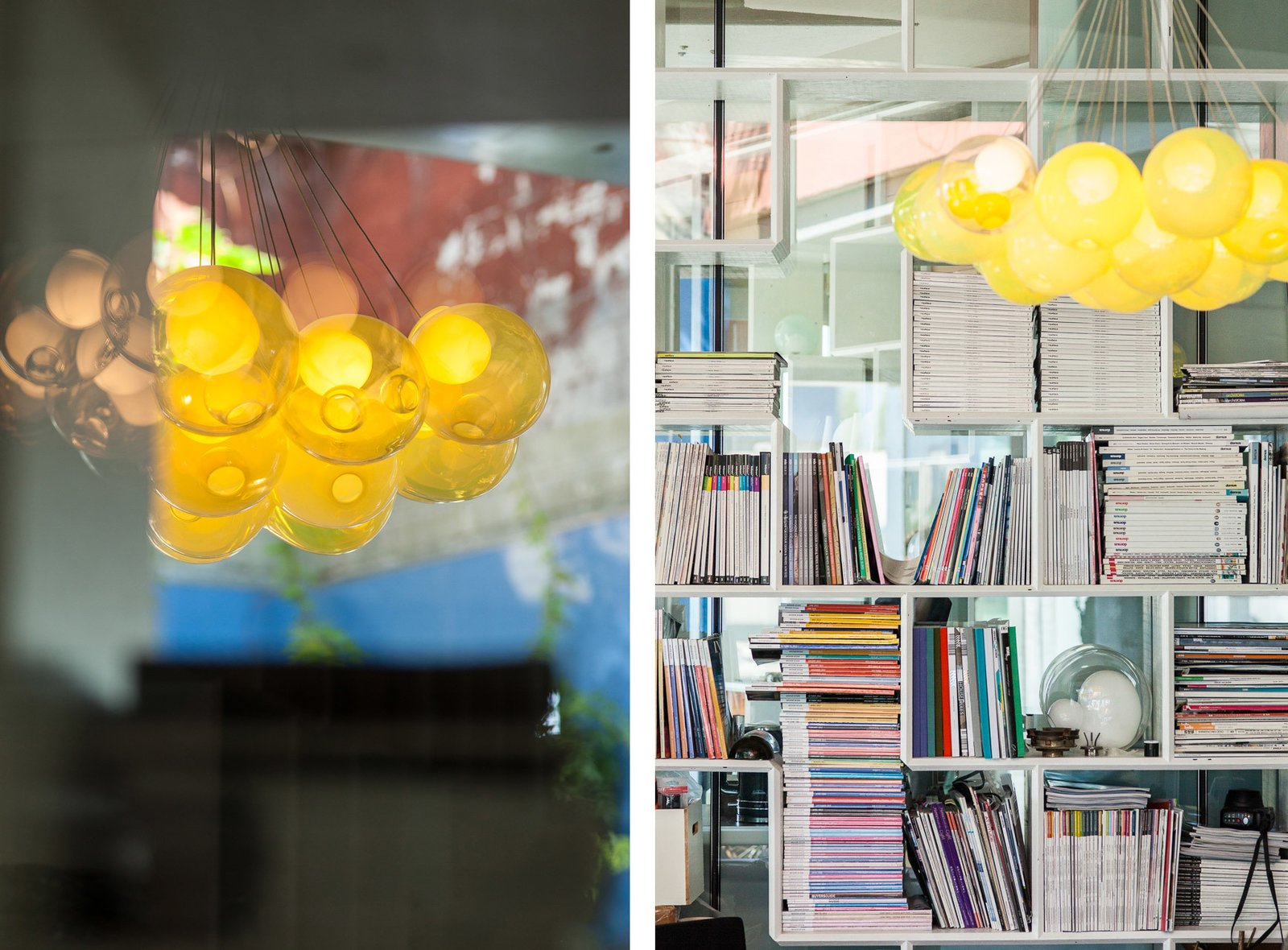 Left: a Bocci 28-series chandelier in amber. Right: Design books and work samples fill the office's many bookshelves.  Photo 8 of 8 in Inside the Head Office of Bocci