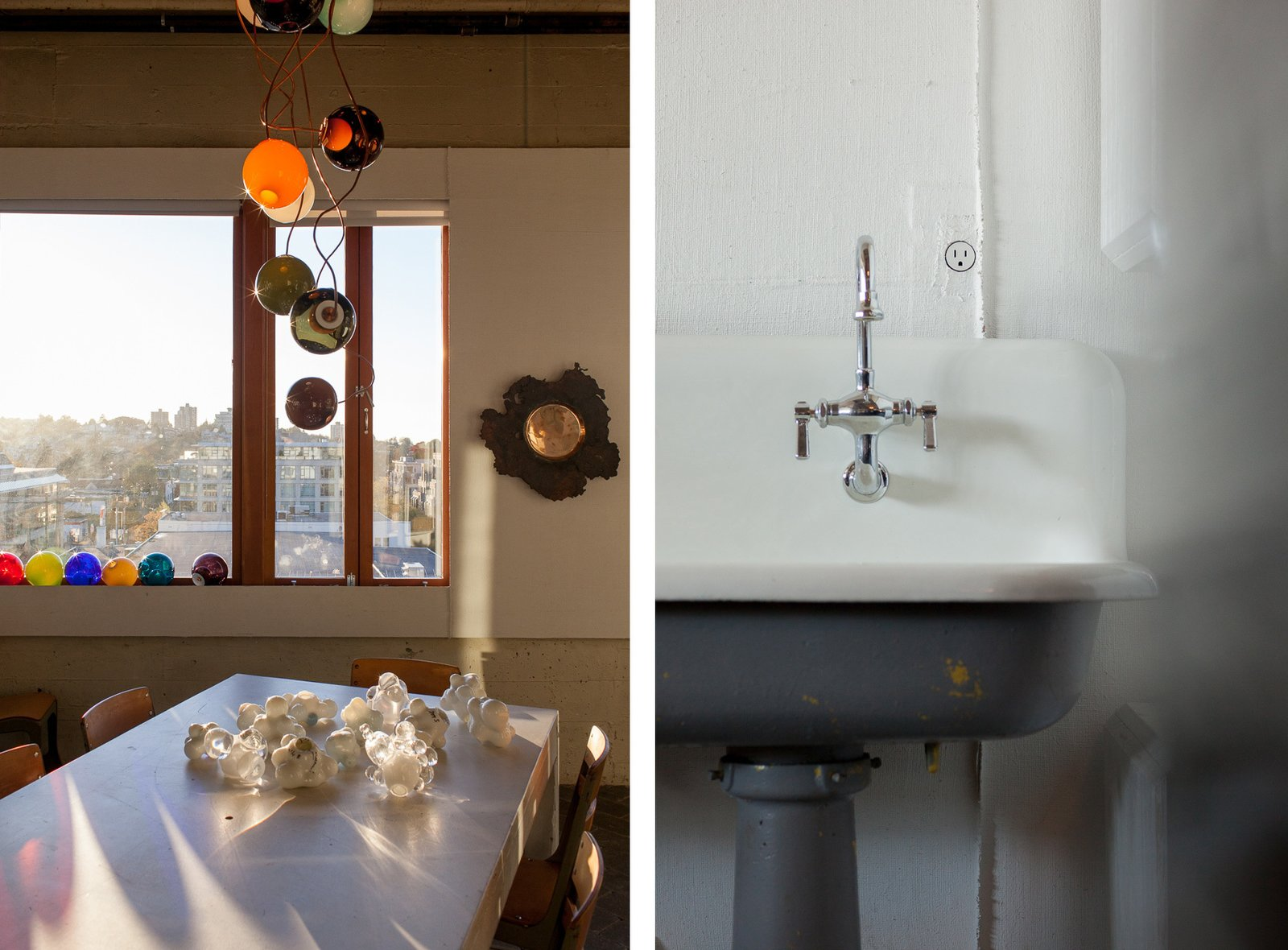 Left: The conference room is strewn with prototypes and works in progress. Right: A detail of Bocci's 22 – an electrical outlet that's designed to mount flush on any surface. Inside the Head Office of Bocci - Photo 7 of 8