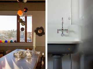 Inside the Head Office of Bocci - Photo 6 of 7 - Left: The conference room is strewn with prototypes and works in progress. Right: A detail of Bocci's 22 – an electrical outlet that's designed to mount flush on any surface.