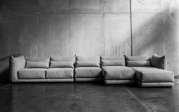 The modular Jane sofa by Montauk allows for multiple configurations.
