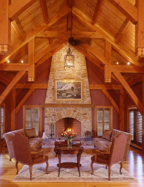 Custom Timberpeg Hammer Beam Truss and Grand Fireplace in the Formal Great Room  Photo 7 of Yellow Brook Farm House modern home