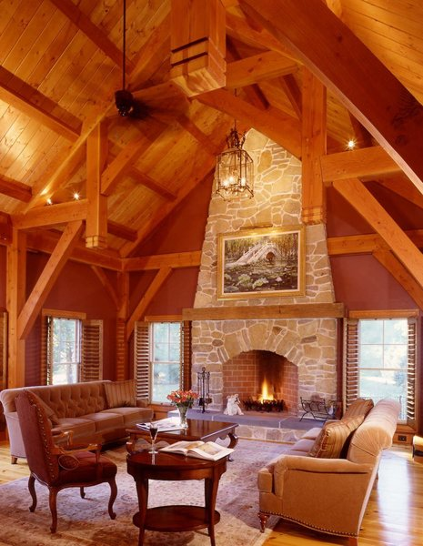 Custom Timberpeg Hammer Beam Truss in the Formal Great Room  Photo 6 of Yellow Brook Farm House modern home