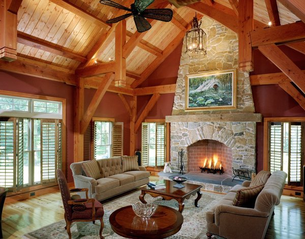 Custom Timberpeg Hammer Beam Truss in the Formal Great Room  Photo 8 of Yellow Brook Farm House modern home