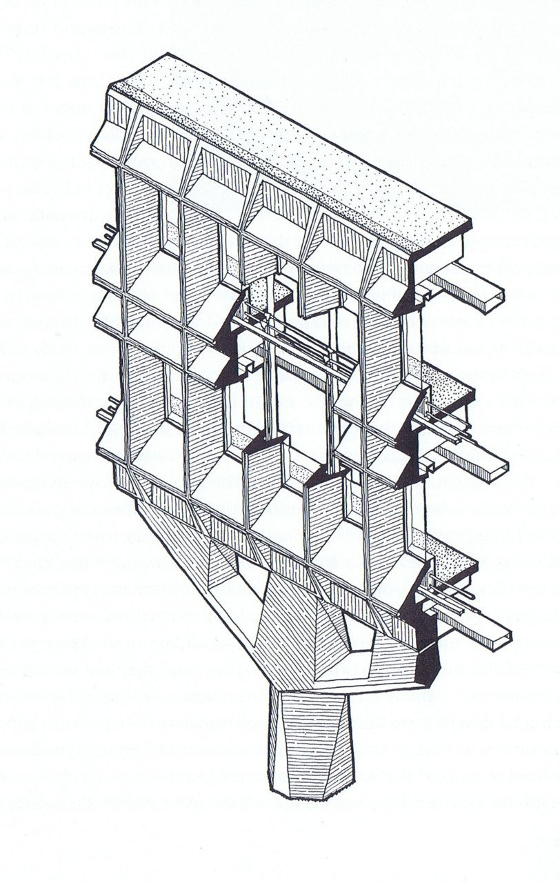 Marcel Breuer's detail drawing for a section of the IBM Research Complex in La Gaude, France.  marcel breuer by pulltab from architectural drawings