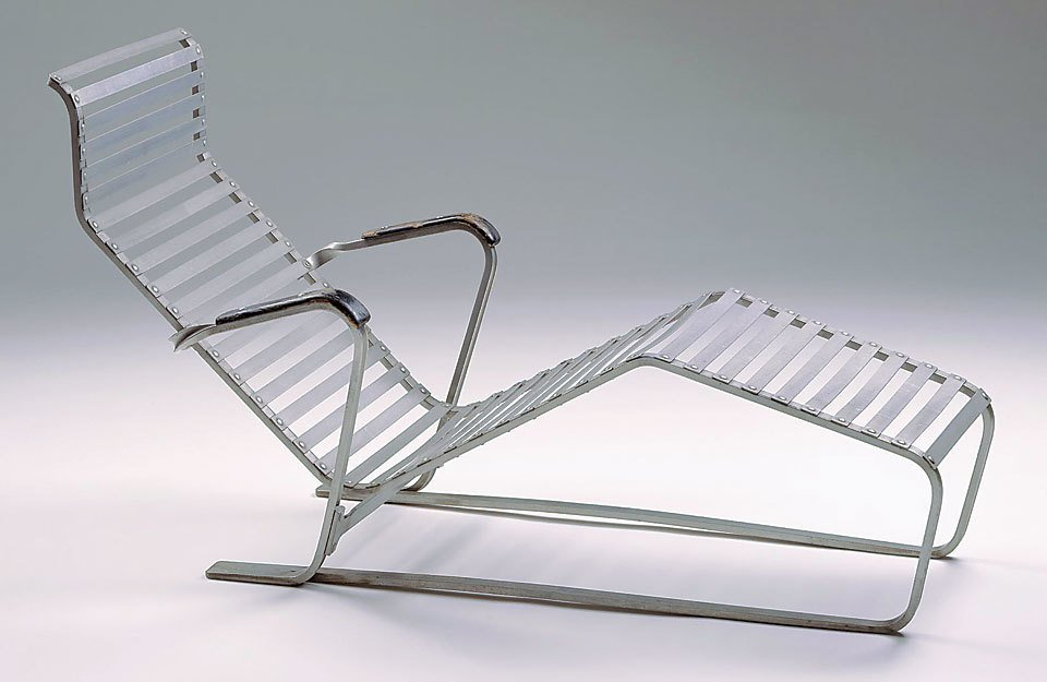 Lounge chair, ca. 1932, Marcel Breuer (German, b. Hungary, 1902-1981). Produced by Embru Werke (Rüti, Switzerland, founded 1904). Aluminum and painted wood. Milwaukee Art Museum; gift of Friends of Art. M1992.241. Photography Larry Sanders.  lounge chairs by pulltab