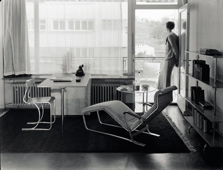 Show apartment on the Werkbund 'Neubühl' housing project, Zurich, around 1934; chair, desk, chaise longue and shelves, by Marcel Breuer.  © Photo Hans Finsler-Staatliche, Galerie MoritzburgHalle, Landeskunstmuseum Saxe-Anhalt, Hans Finsler collection.  marcel breuer by pulltab from living rooms