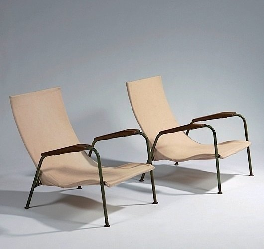 JEAN PROUVÉ Visitor Chair - tropical variant 1951 Photo: Artcurial  lounge chairs by pulltab