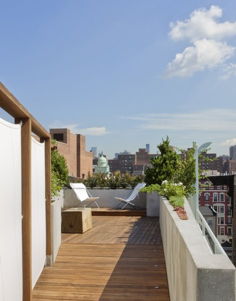 A view from the connecting ramp towards the upper level of the roof deck.   A custom Portland cement stucco planter wall tapers in a wedge shape continuing the line of the building parapet.  Military surplus canvas screens are on the right.  These are removable allowing access to existing service areas on the roof. Photo 4 of East Village Roof Garden modern home