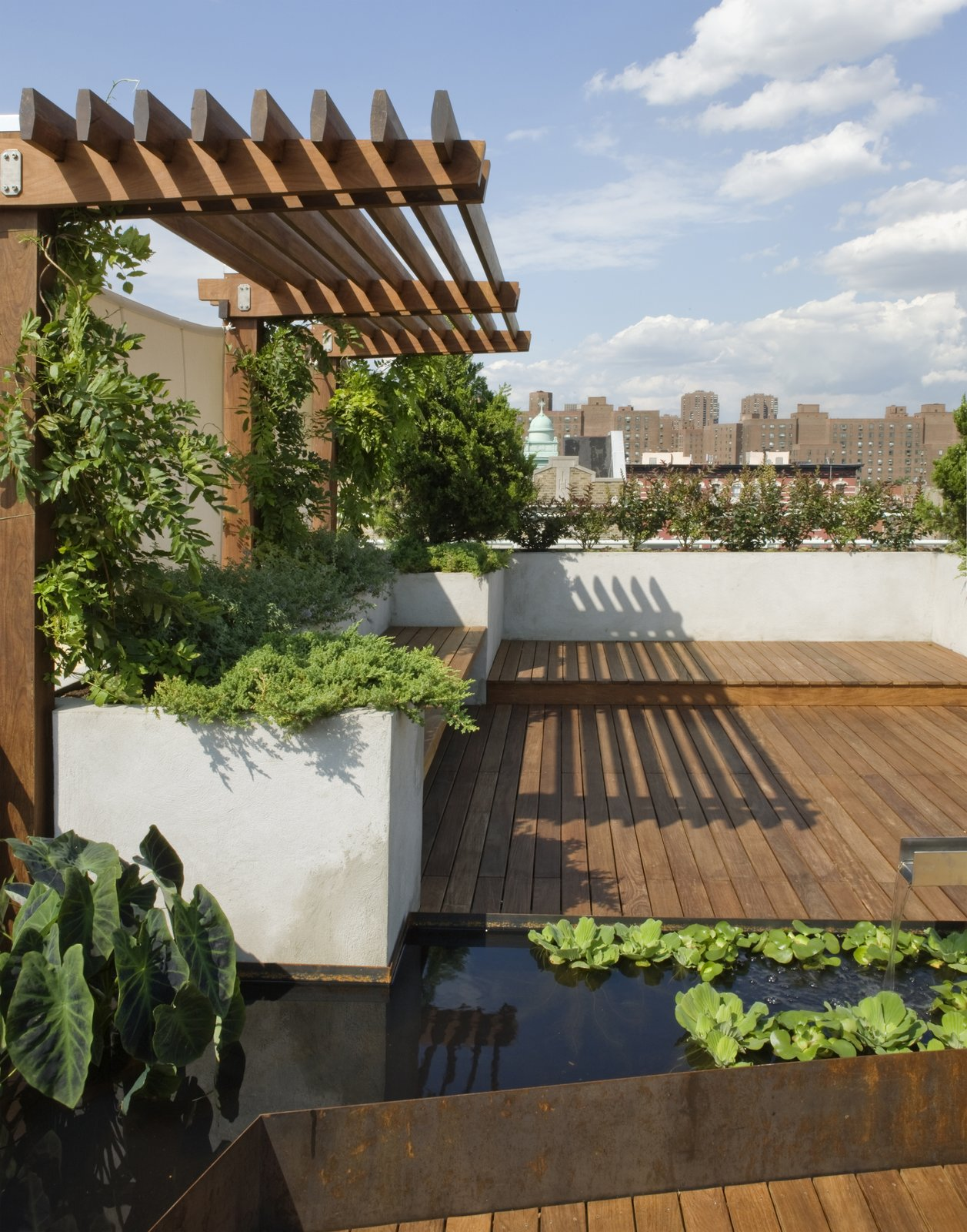 A view from the lower part of the roof deck.  The Cor-Ten water garden wraps around a custom Portland cement stucco planter.  East Village Roof Garden by pulltab