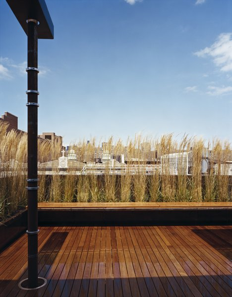 Looking out from the penthouse addition across the teak deck to the wonderful rooftop texture of the East Village.  A Cor-Ten planter with built-in teak bench forms a screening element to provide privacy from surrounding neighbors. Photo  of East Village Penthouse & Roof Garden modern home