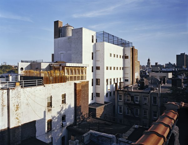 From an adjacent rooftop the penthouse forms part of the urban fabric of the East Village.  Teak, galvanized steel, Cor-Ten steel and Portland cement stucco were chosen to both blend in and to weather well over the years. Photo 9 of East Village Penthouse & Roof Garden modern home