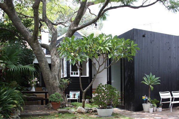 The original building is treated with a black paint finish to set up a visual relationship with the black glass and stained timber of the modern addition. Photo 8 of Villa Leichhardt modern home