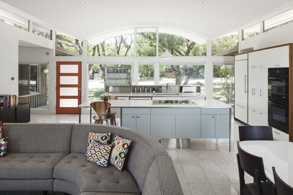 Modern home with kitchen, ceramic tile floor, white cabinet, and laminate cabinet. Photo 3 of Butter Fly House : A. D. Stenger