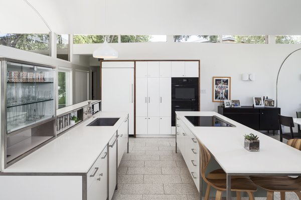 Modern home with kitchen, white cabinet, and ceramic tile floor. Photo 4 of Butter Fly House : A. D. Stenger