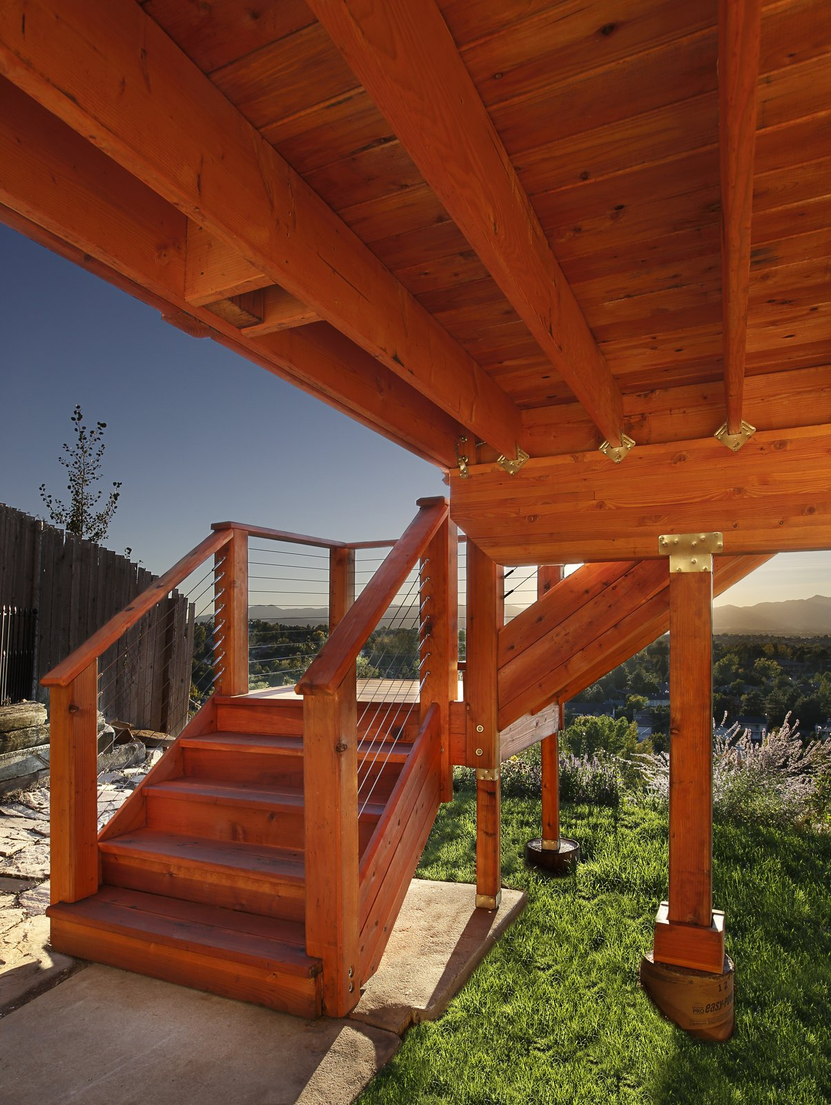Redwood decks require less substructure and building material. While other materials require 12- to 16-inch spans from joist to joist, redwood's shear strength allows for 24-inch spans.  Photo 4 of 7 in Beauty and Brains: Building Sustainably With Redwood