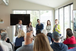 "Monogram Modern Home Tour Takes On the West Coast - Photo 4 of 8 - Our panelists John Nichols of Monogram, Zem Joaquin of Ecofabulous, Dave Morin of Path, and Amanda Dameron of Dwell joined Michaela O'Connor Abrams for a conversation about the successes, potential dangers, and future developments of smart homes. ""We're in a Cambrian moment of computing,"" said Morin, ""but the computers we're carrying don't work in concert."""
