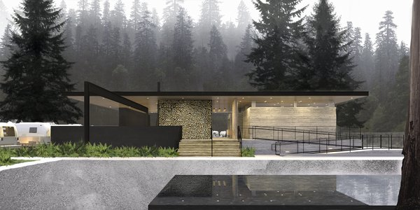 Serving as a locus for the community, the pavilion houses a reception area, the manager's office, spa-inspired bathrooms and showers, and kitchen and dining facilities. Open-air event spaces and fire pits bring guests together.