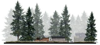 AutoCamp's Modern Clubhouse Emerges from the Russian River Redwoods - Photo 4 of 6 - A view of the east elevation demonstrates how the configuration allows the indoors and outdoors to intersect. During inclement weather, curtains deploy from the ceiling and enclose the space like tent walls.